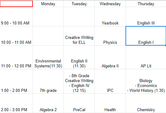 Virtual Class Schedule